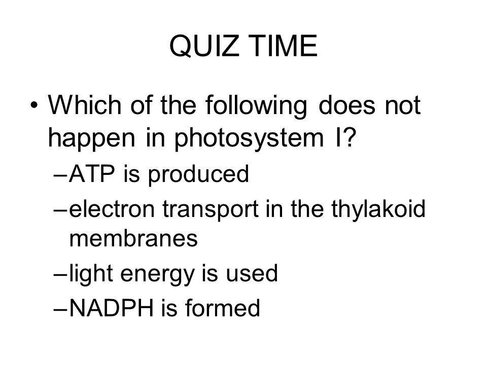 QUIZ TIME Which of the following does not happen in photosystem I