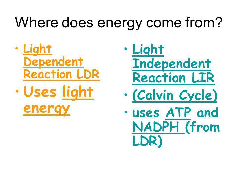 Where does energy come from