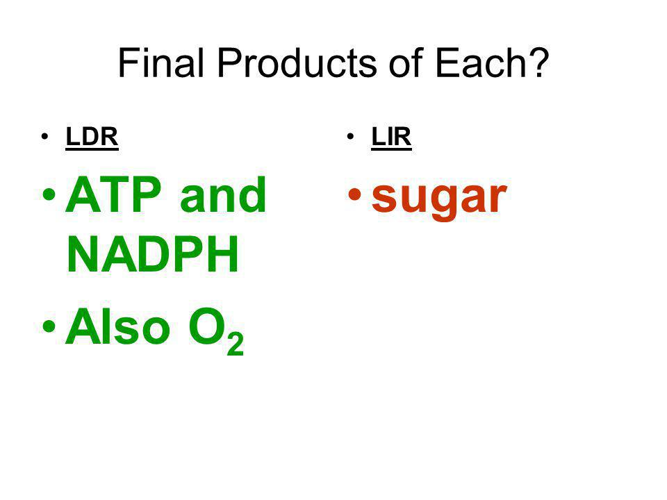 Final Products of Each LDR ATP and NADPH Also O2 LIR sugar