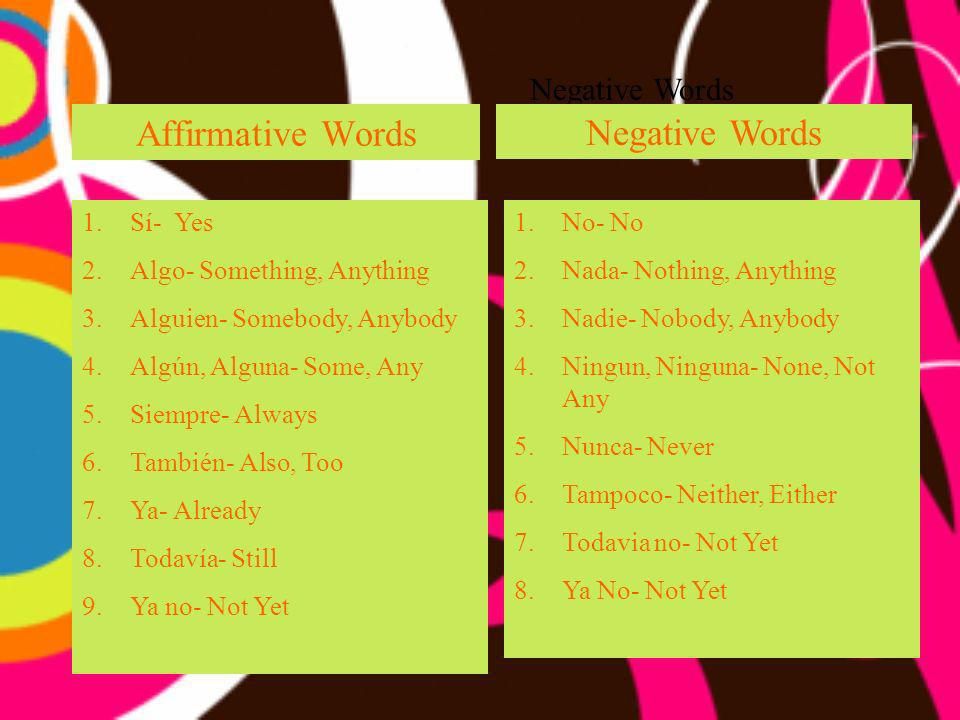 Affirmative Words Negative Words Negative Words Sí- Yes