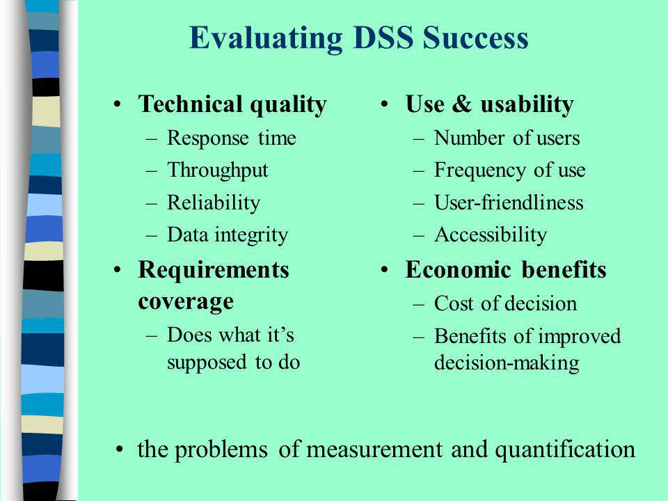 Evaluating DSS Success