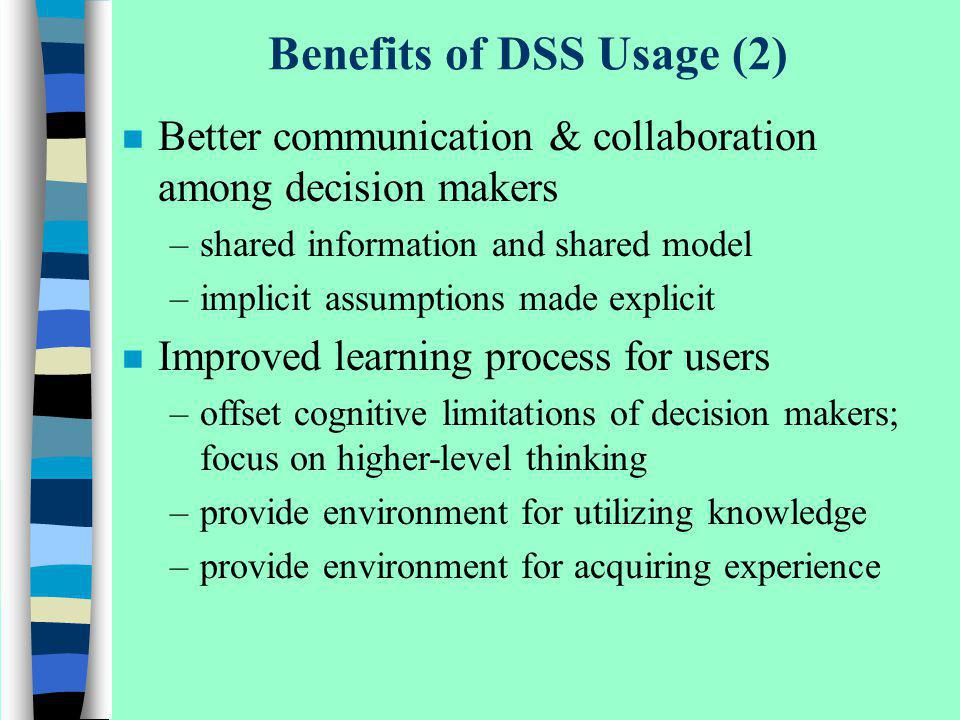 Benefits of DSS Usage (2)