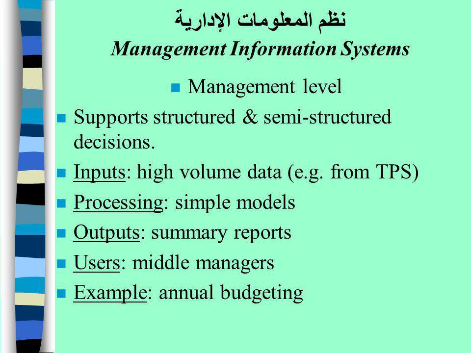 نظم المعلومات الإدارية Management Information Systems