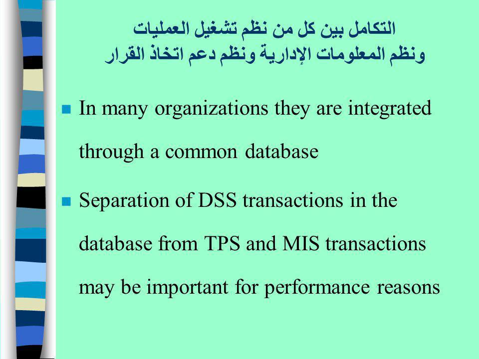التكامل بين كل من نظم تشغيل العمليات ونظم المعلومات الإدارية ونظم دعم اتخاذ القرار