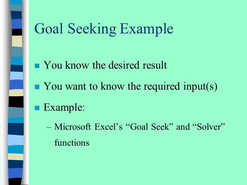 Goal Seeking Example You know the desired result