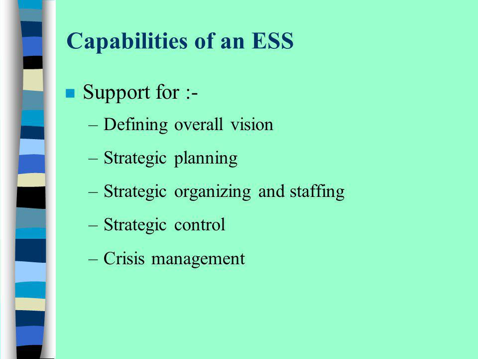 Capabilities of an ESS Support for :- Defining overall vision