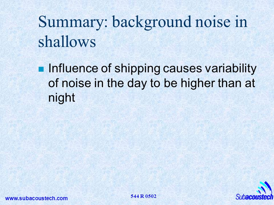 Summary: background noise in shallows