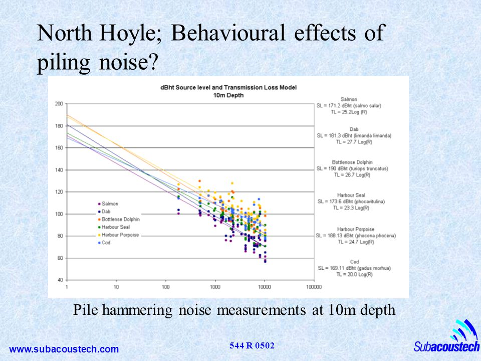 North Hoyle; Behavioural effects of piling noise