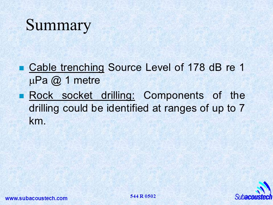 Summary Cable trenching Source Level of 178 dB re 1 mPa @ 1 metre