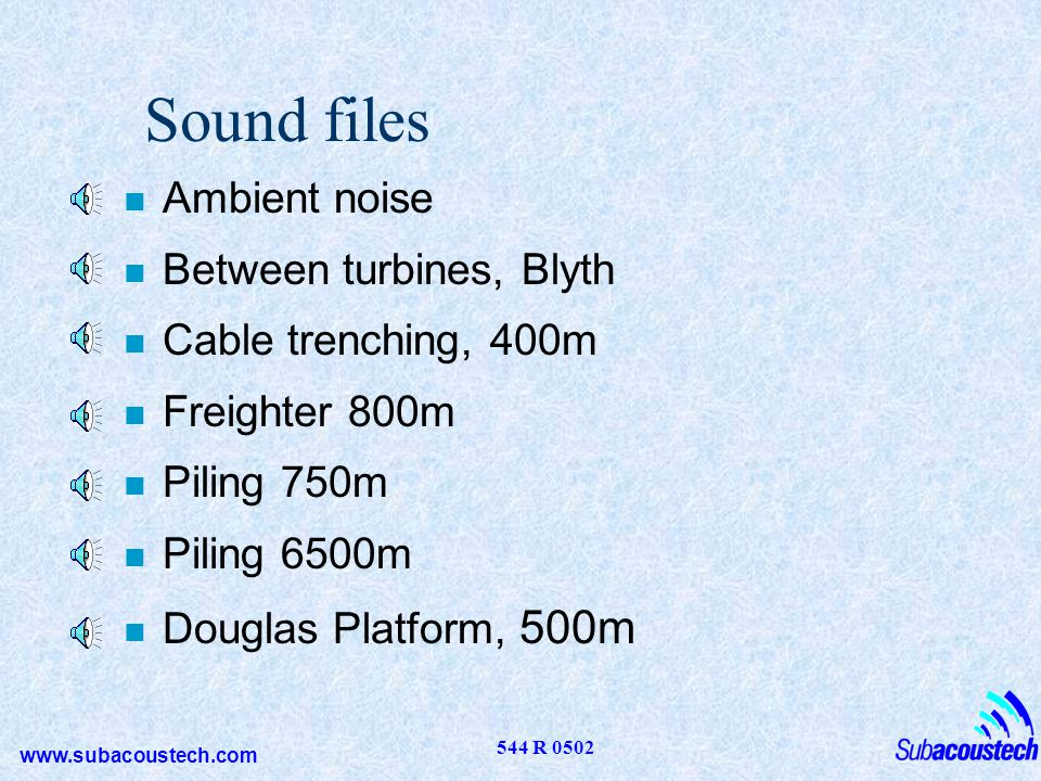 Sound files Ambient noise Between turbines, Blyth