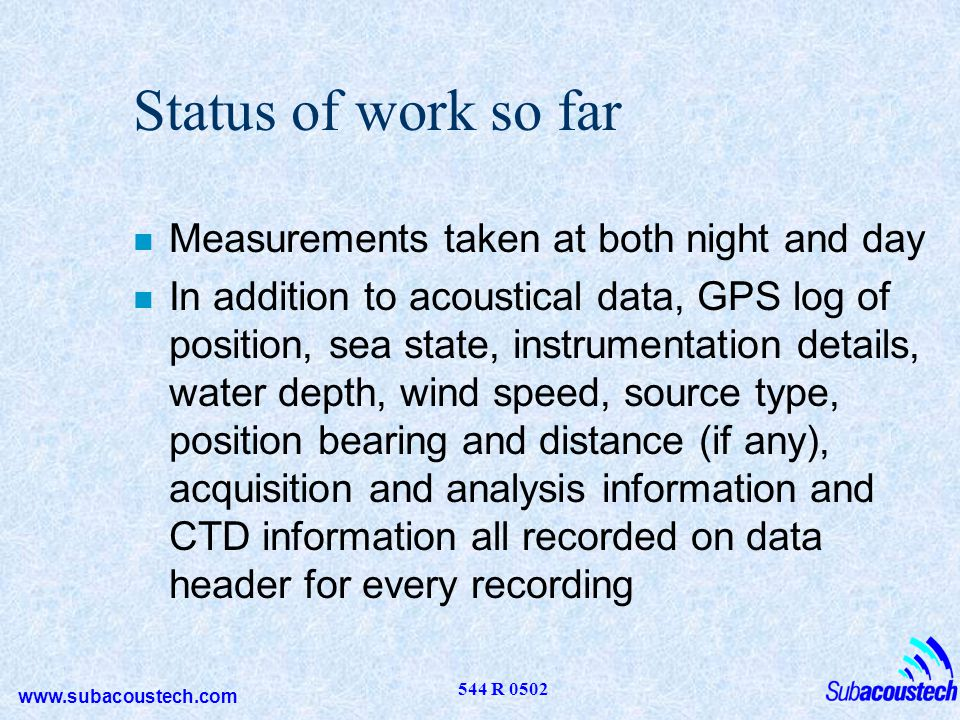 Status of work so far Measurements taken at both night and day