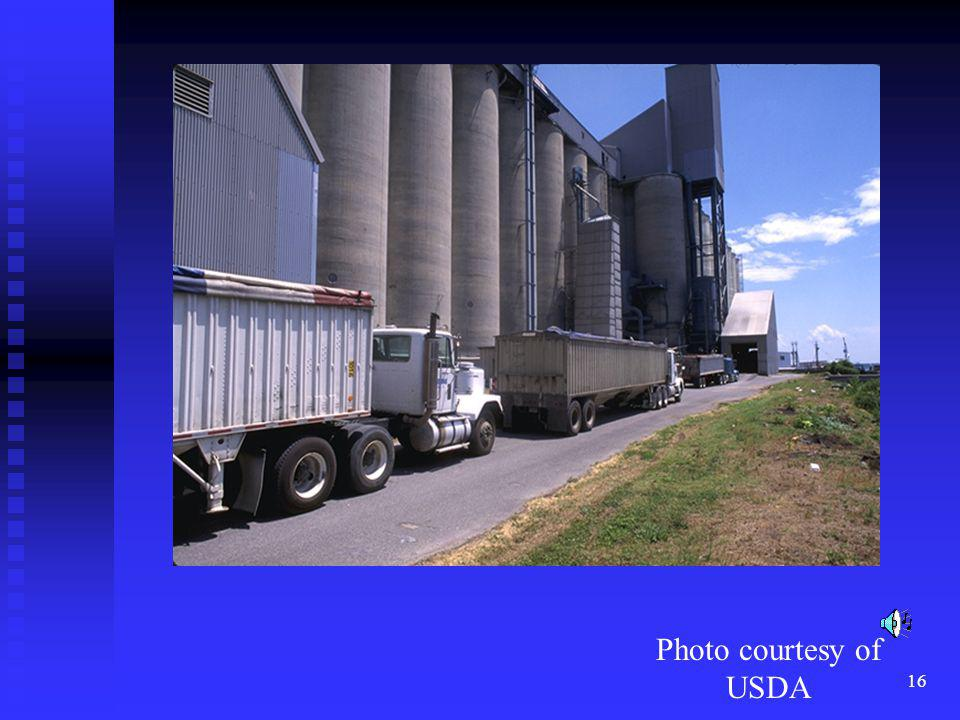 Most wheat is stored in large silos in the midwest until it is needed to produce bread.