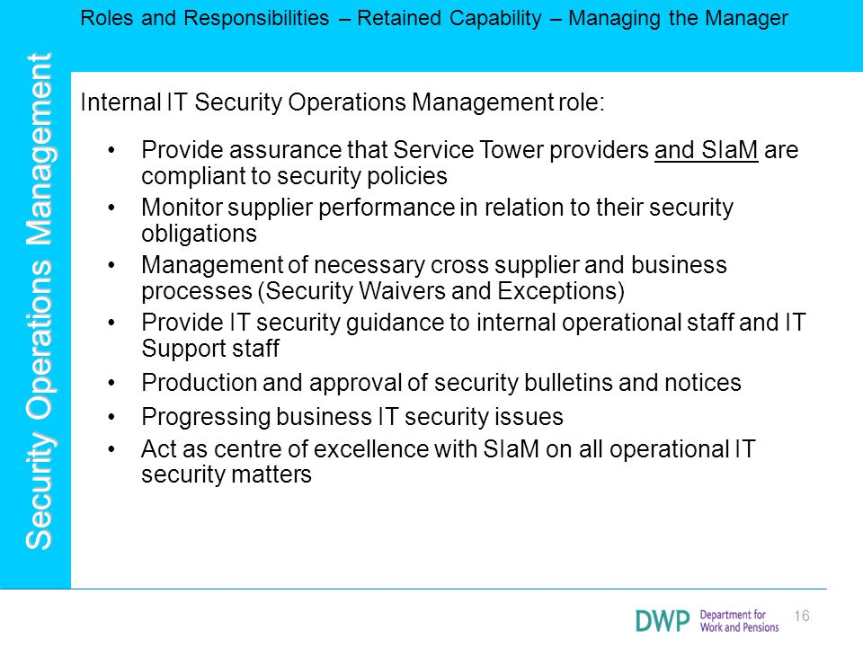 Internal IT Security Operations Management role: