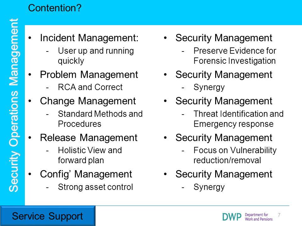 Contention Incident Management: Problem Management Change Management