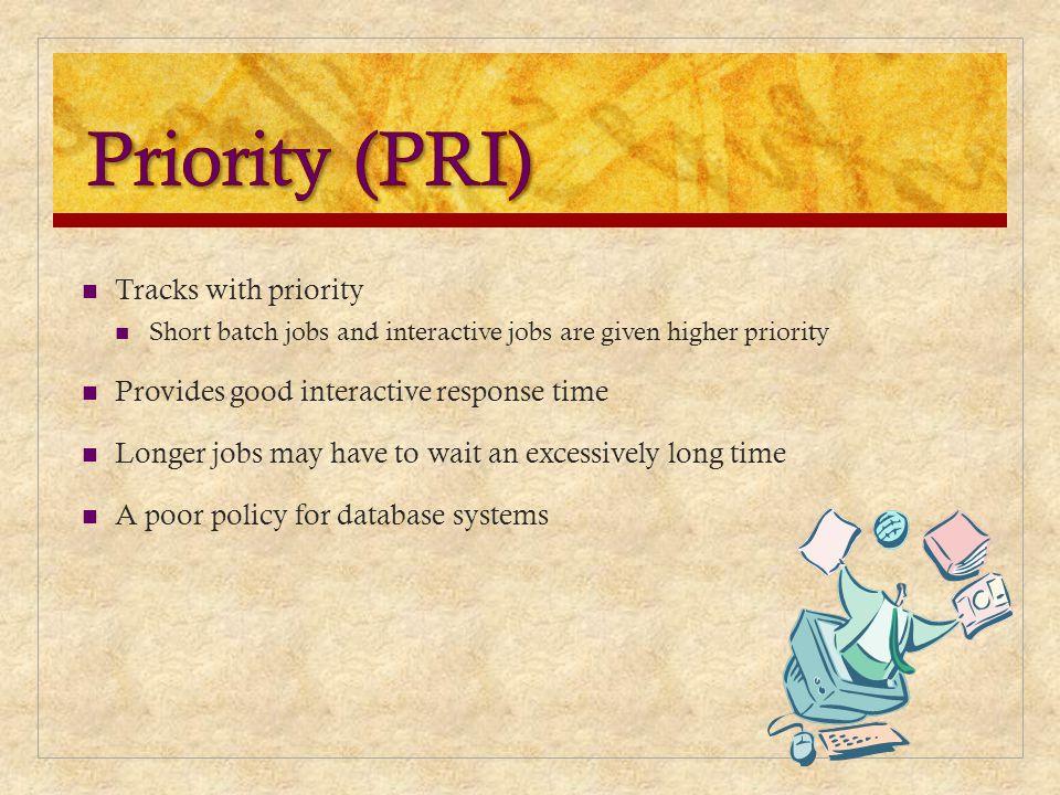 Priority (PRI) Tracks with priority