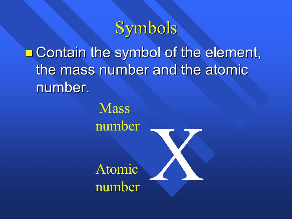 Symbols Contain the symbol of the element, the mass number and the atomic number. Mass. number. X.