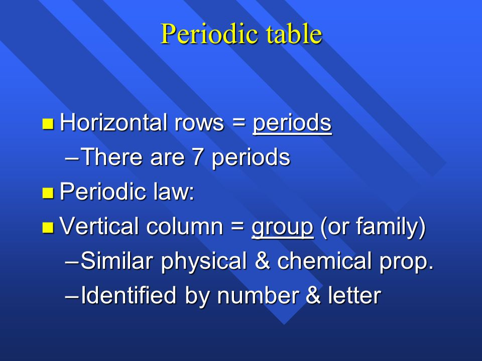 Periodic table Horizontal rows = periods There are 7 periods