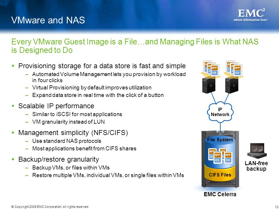 VMware and NAS Every VMware Guest Image is a File…and Managing Files is What NAS is Designed to Do.