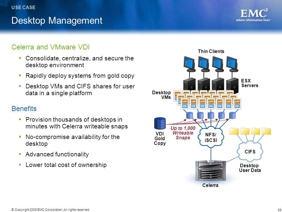 Desktop Management Celerra and VMware VDI Benefits