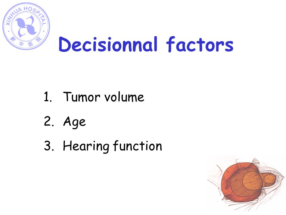 Decisionnal factors Tumor volume Age Hearing function