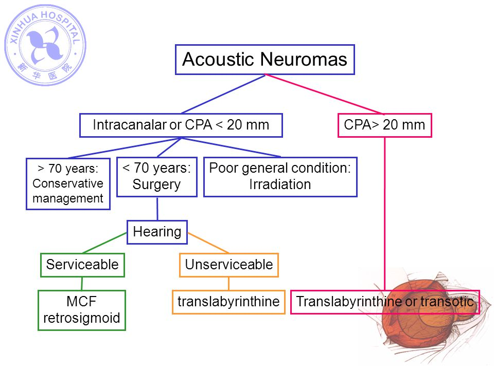 Acoustic Neuromas CPA> 20 mm Translabyrinthine or transotic
