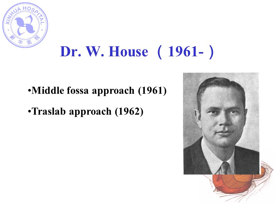 Dr. W. House (1961-) Middle fossa approach (1961)