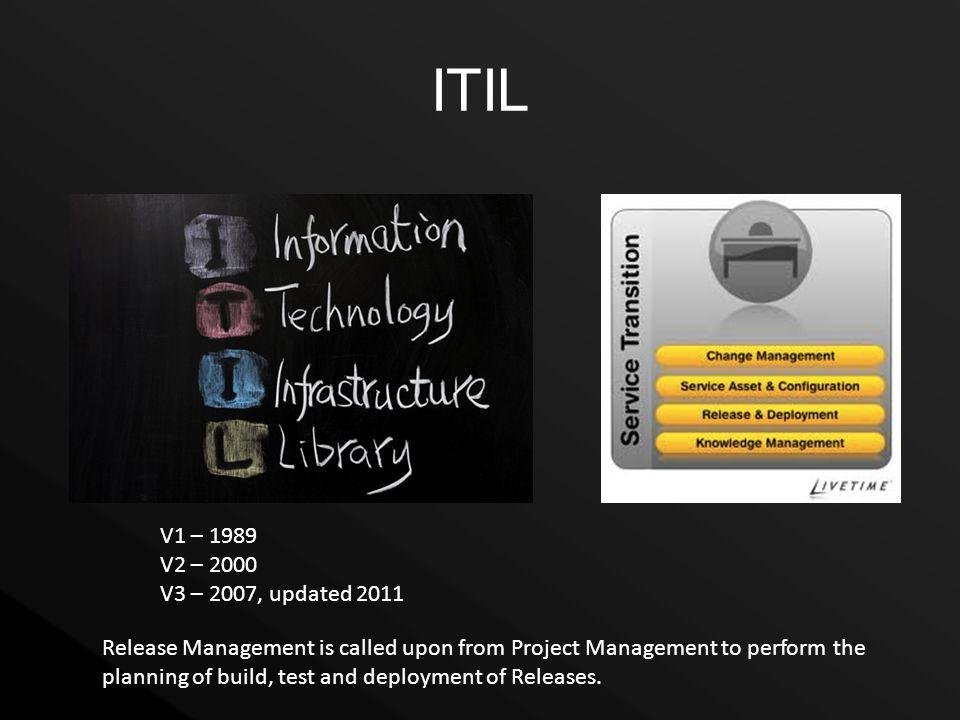 ITIL V1 – 1989. V2 – 2000. V3 – 2007, updated 2011.