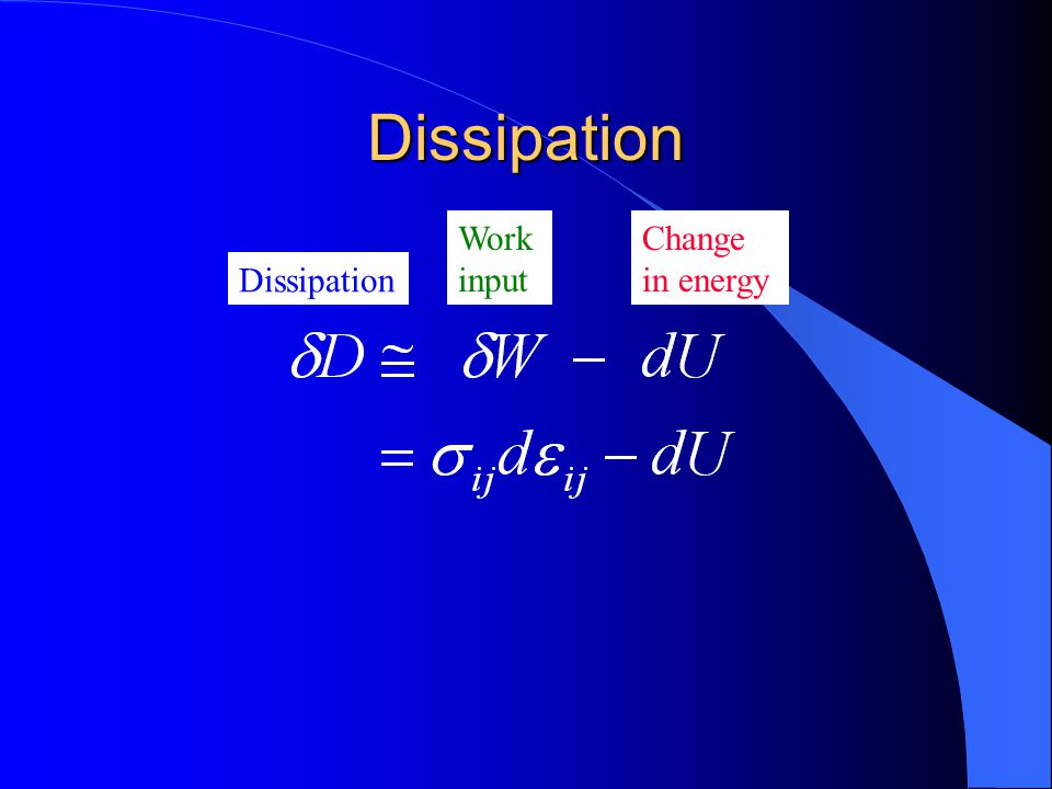 Dissipation Work input Change in energy Dissipation