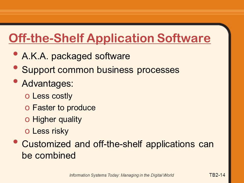Off-the-Shelf Application Software
