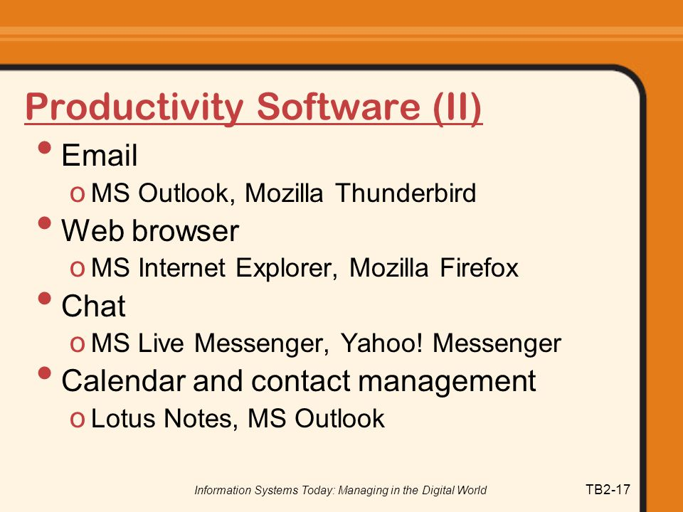 Productivity Software (II)