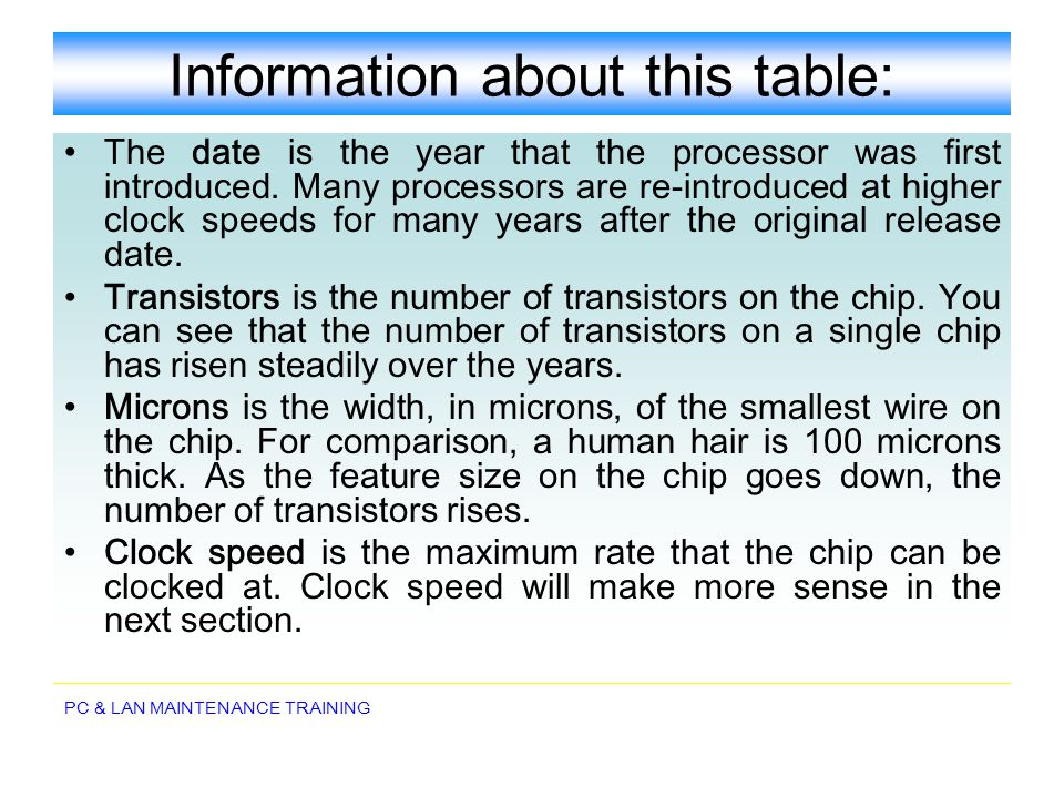Information about this table: