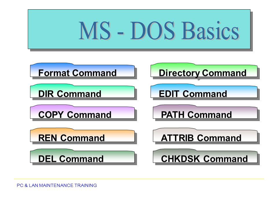 MS - DOS Basics Format Command Directory Command DIR Command