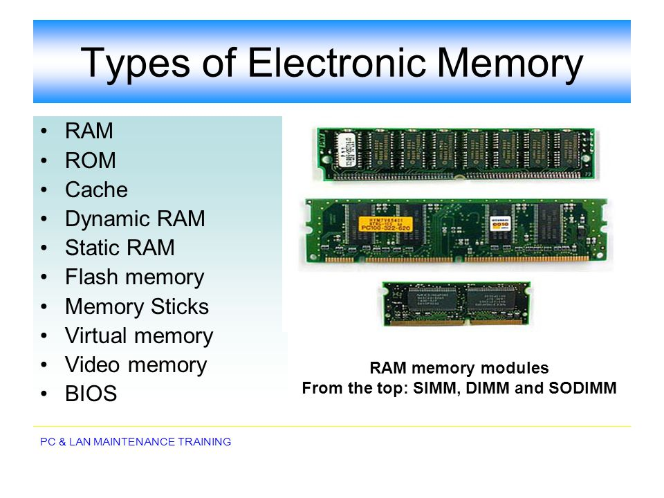 Types of Electronic Memory