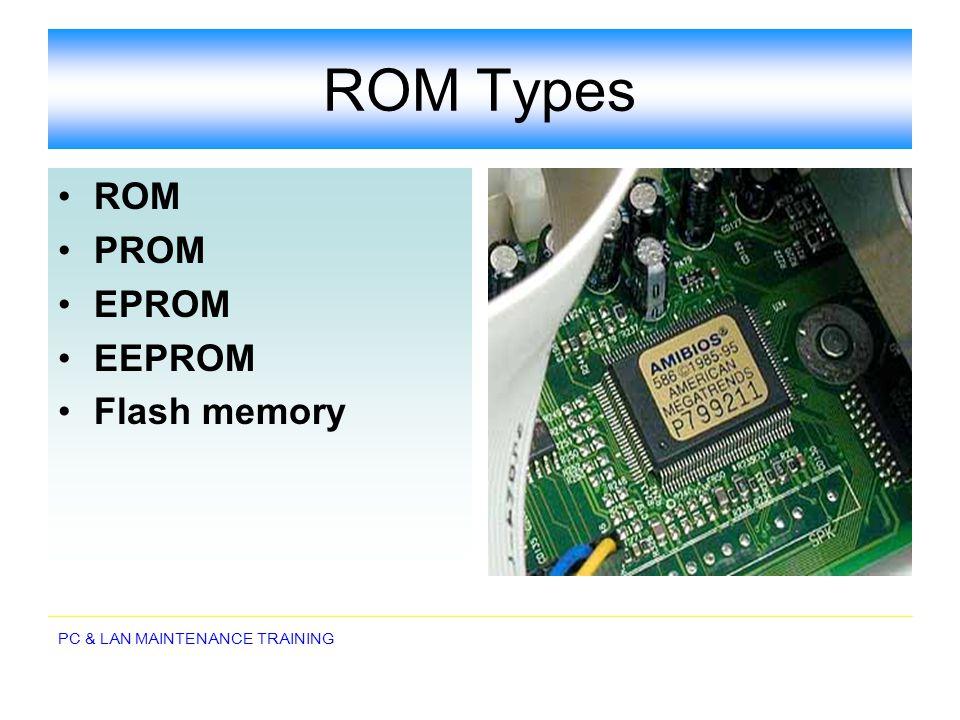 ROM Types ROM PROM EPROM EEPROM Flash memory