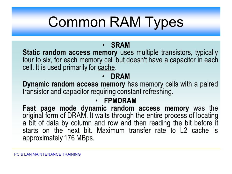 Common RAM Types