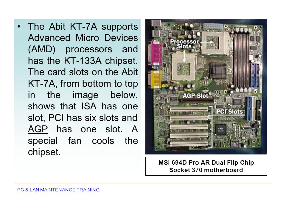 MSI 694D Pro AR Dual Flip Chip Socket 370 motherboard