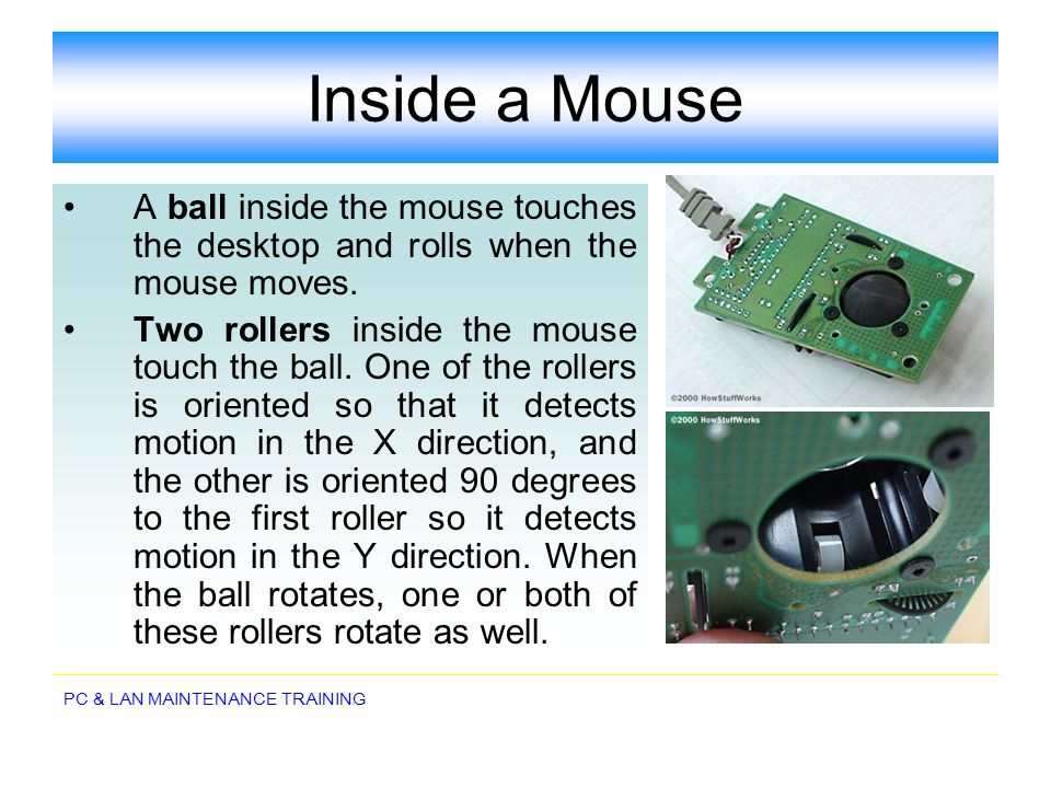 Inside a Mouse A ball inside the mouse touches the desktop and rolls when the mouse moves.