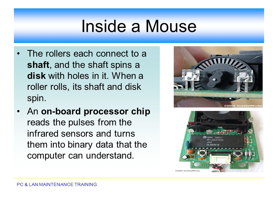 Inside a Mouse The rollers each connect to a shaft, and the shaft spins a disk with holes in it. When a roller rolls, its shaft and disk spin.
