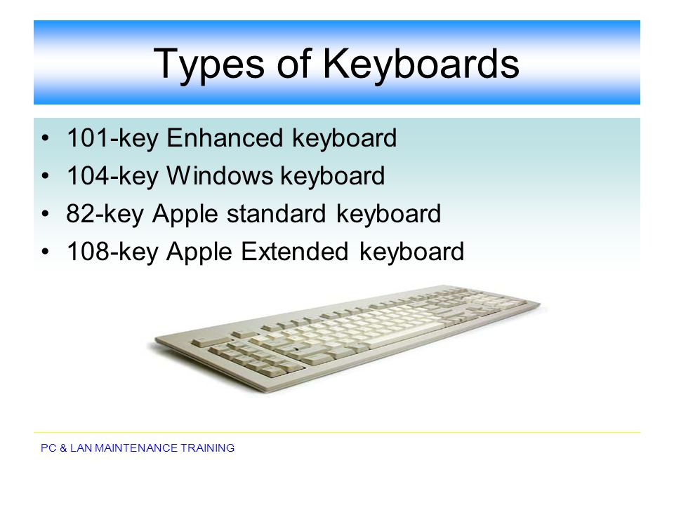 Types of Keyboards 101-key Enhanced keyboard 104-key Windows keyboard