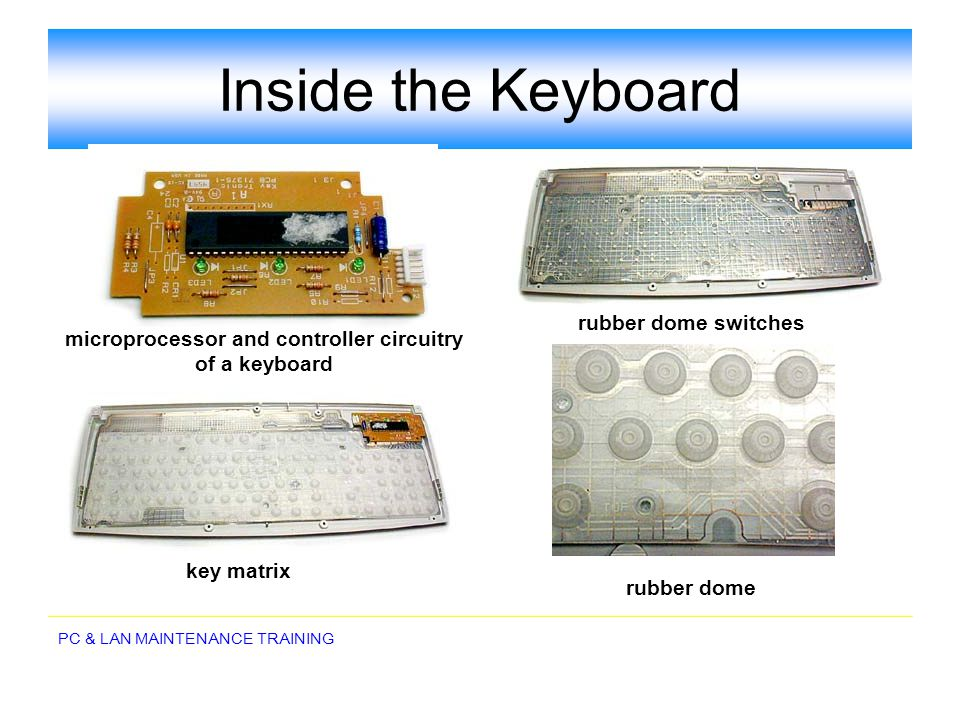 microprocessor and controller circuitry of a keyboard