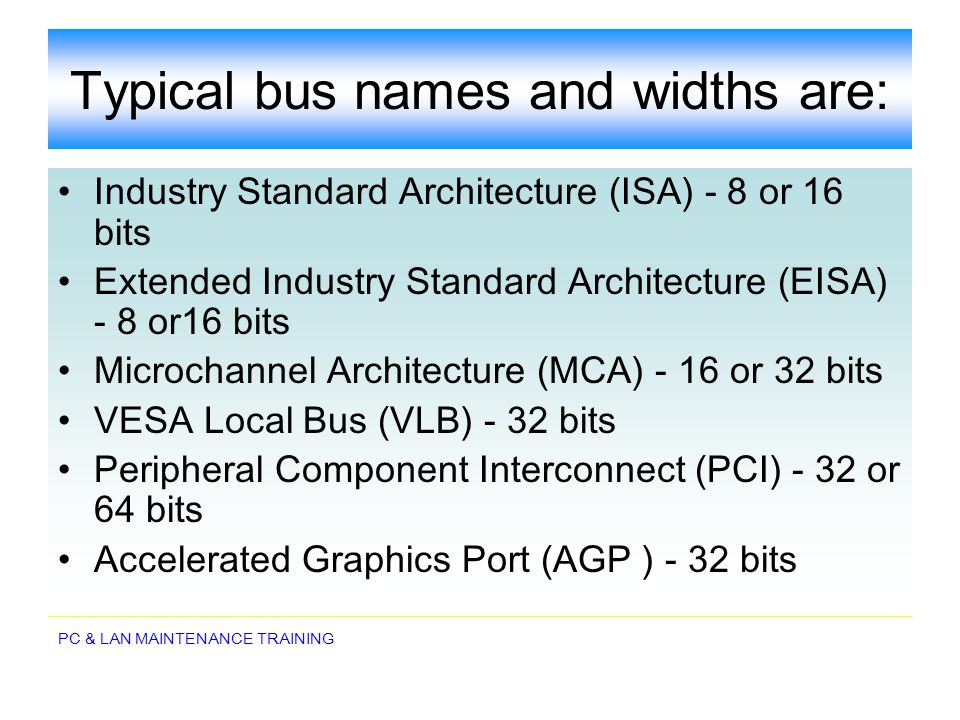 Typical bus names and widths are: