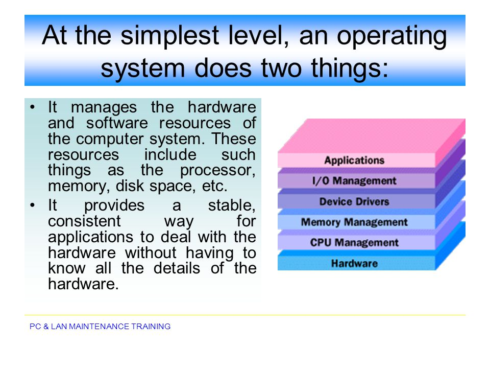At the simplest level, an operating system does two things: