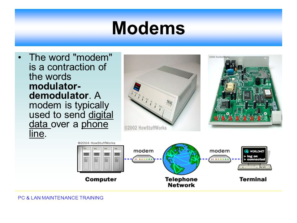 Modems The word modem is a contraction of the words modulator-demodulator.