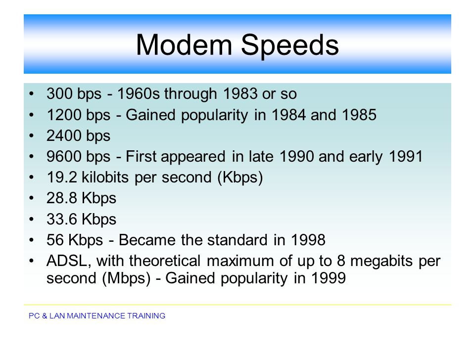 Modem Speeds 300 bps - 1960s through 1983 or so
