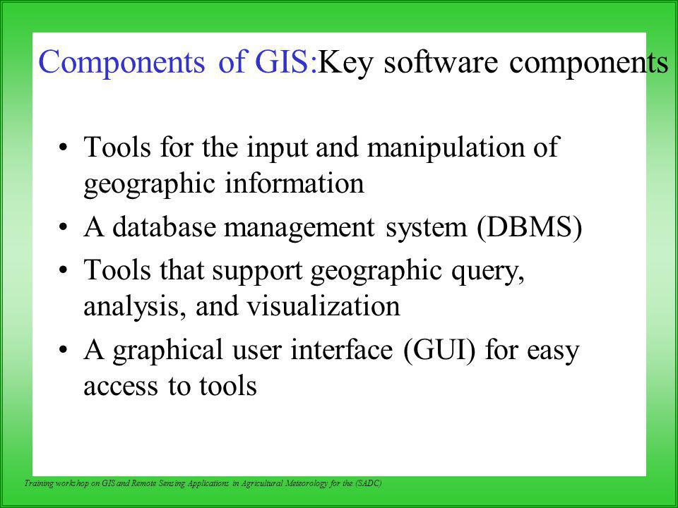 Components of GIS:Key software components