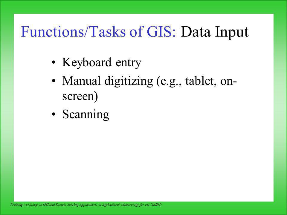 Functions/Tasks of GIS: Data Input