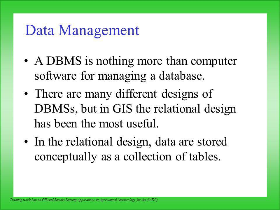 Data Management A DBMS is nothing more than computer software for managing a database.