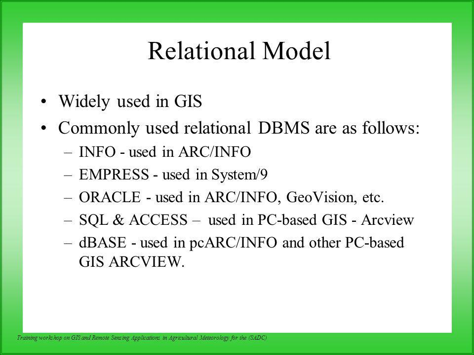 Relational Model Widely used in GIS