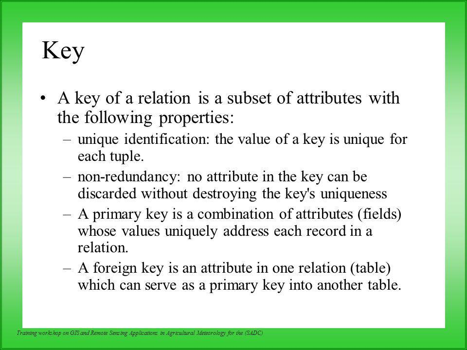 Key A key of a relation is a subset of attributes with the following properties: unique identification: the value of a key is unique for each tuple.