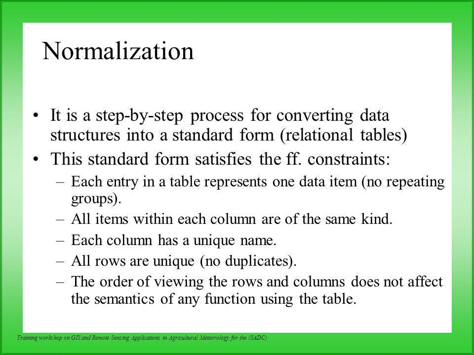 Normalization It is a step-by-step process for converting data structures into a standard form (relational tables)